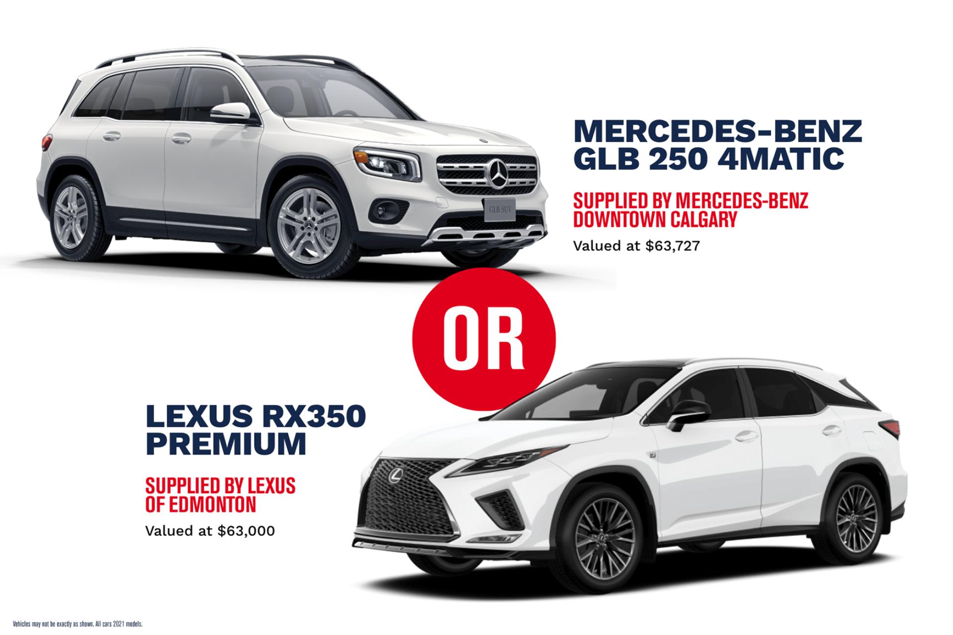 STARS Lottery2021 Prizes Luxury Vehicles GLB RX350 2x